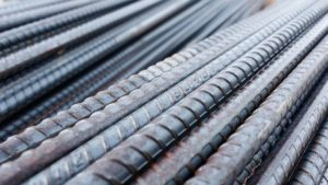 close-up of rebar supply